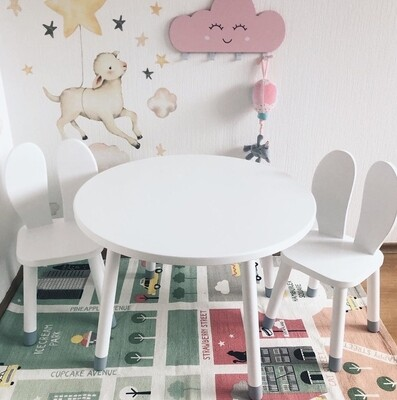 Wooden Round Table and Two Bunny Chair Set