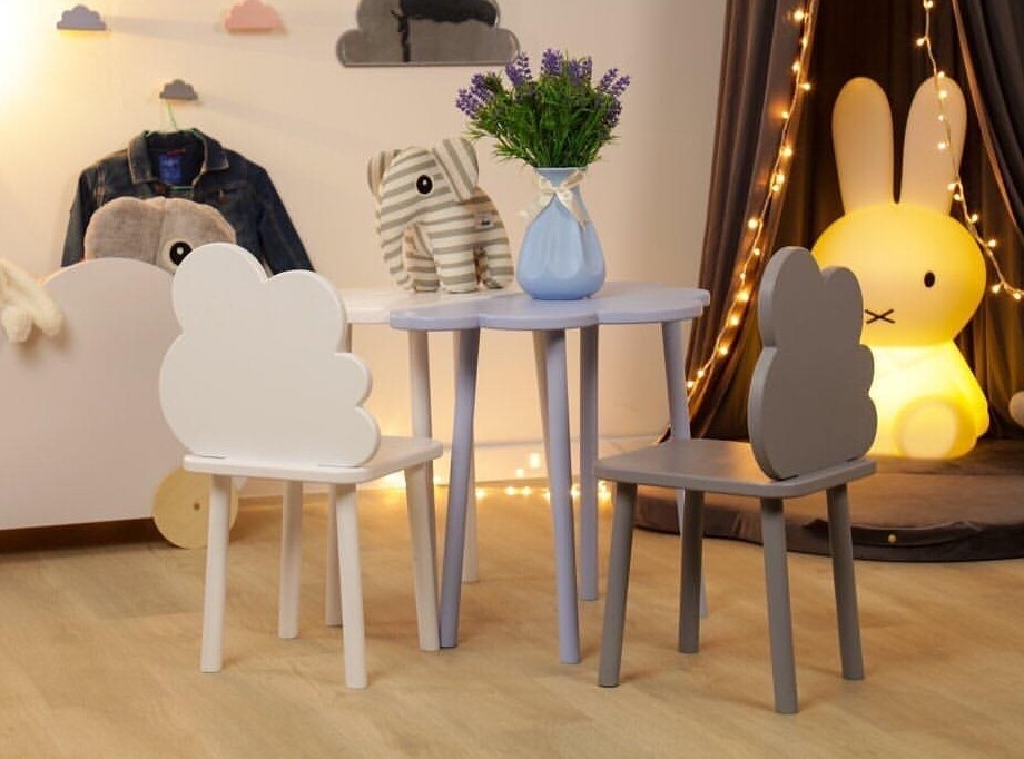 Wooden Cloud Table and Two Chair Set