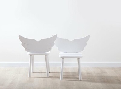 Wooden Angel Wing Chairs/Stool