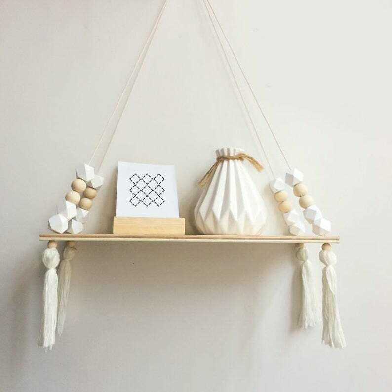 Wooden Shelf with Beads & Tassel Decor - White
