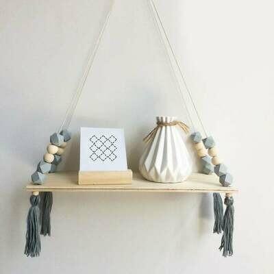 Wooden Shelf with Beads & Tassel Decor - Grey