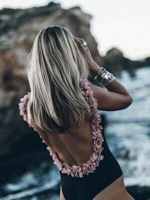 Black with Open Back and Pink Roses Swimsuit