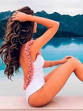 White with Open Back and Pink Roses Swimsuit