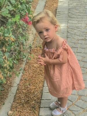 Girls: Polka Dot Cotton Dress with Shorts - Peach