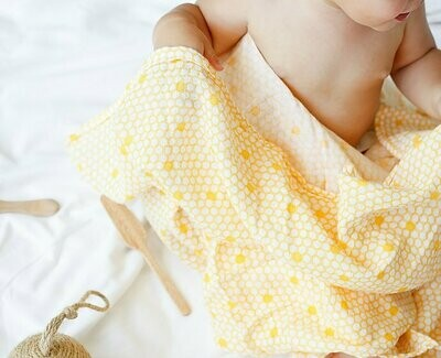 Organic Cotton Muslin Swaddles - Twin Pack - Busy Bees
