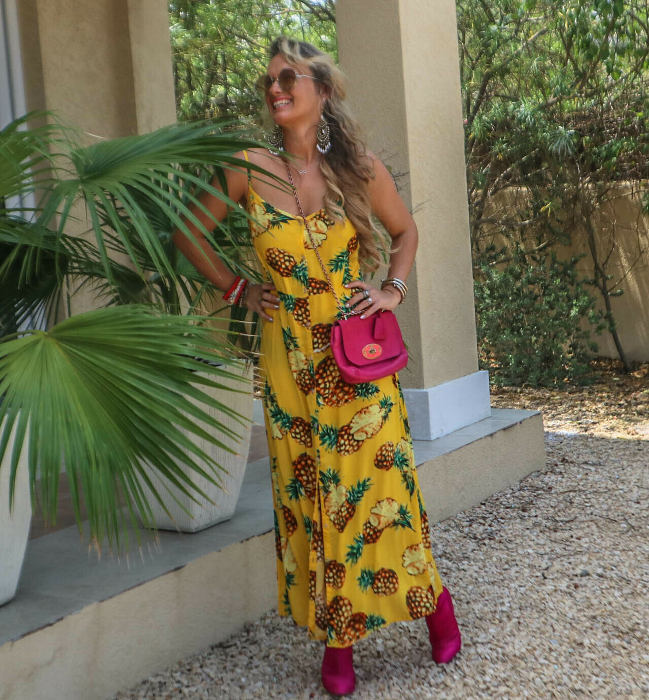 The Florida Girl Dress: Yellow Pineapple Print