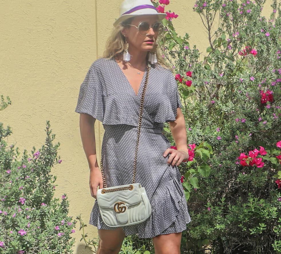 The Cape Wrap Dress: Grey Polkadot Print