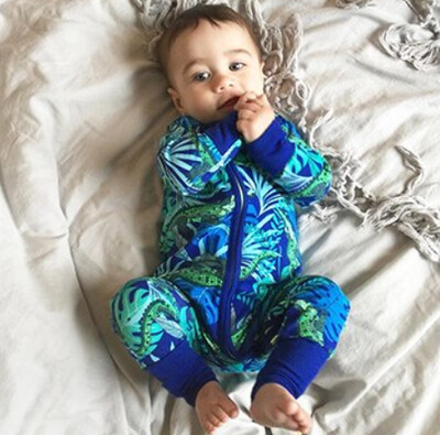 Stretched Cotton Printed Long Sleeve Babygrow - Crocodile Design