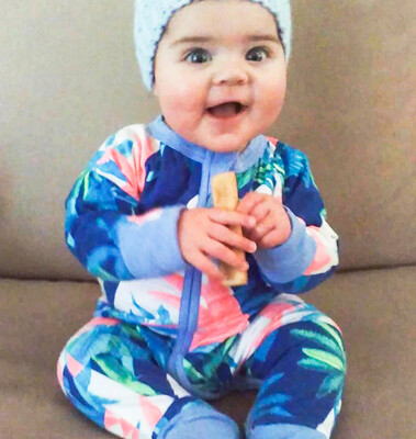 Stretched Cotton Printed Long Sleeve Babygrow - Island Print