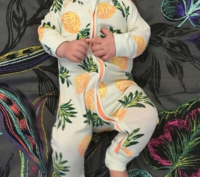 Stretched Cotton Printed Long Sleeve Babygrow - Pineapple Print