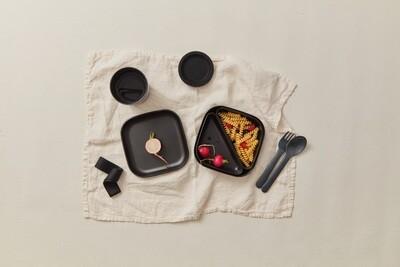 Go Square Bento Lunch Box - Black + 2 Black Compartments