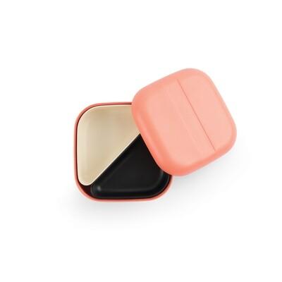 Go Square Bento Lunch Box - Coral + White & Black Compartments
