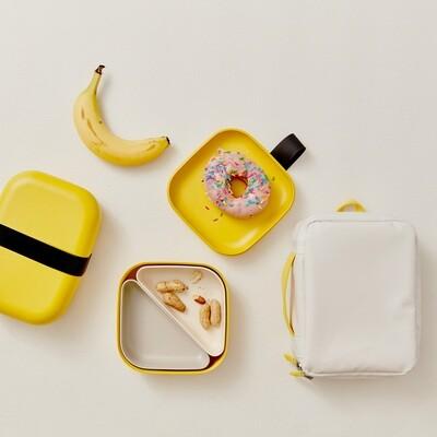 Go Square Bento Lunch Box - Lemon + White & Stone Compartments