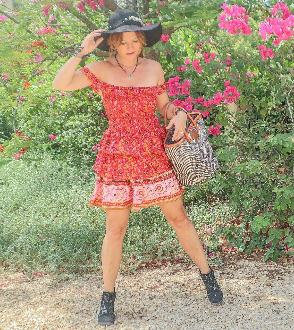 The Fire Starter: Off Shoulder Mini Dress