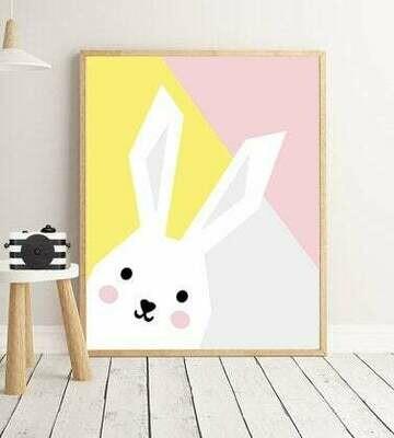 Abstract Bunny Wall Art Print