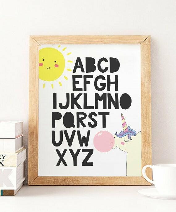 Alphabet Unicorn Wall Art Print