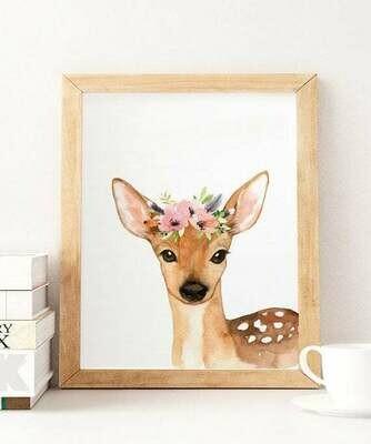 Floral Watercolour Deer Wall Art Print
