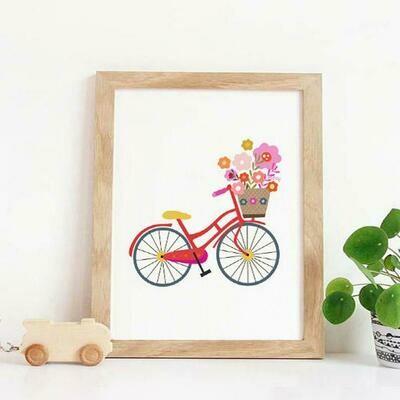 Floral Bicycle Wall Art Print