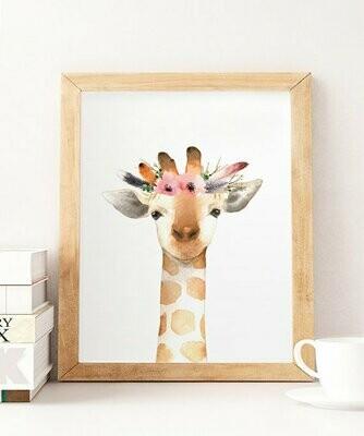Floral Watercolour Giraffe Wall Art Print