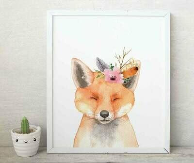 Floral Watercolour Fox Wall Art Print