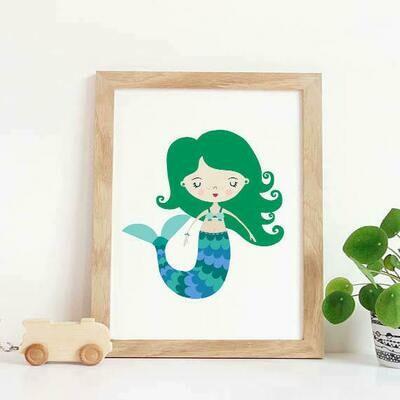 Green Mermaid Wall Art Print