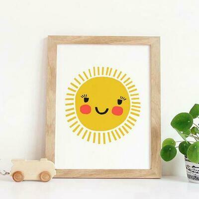 Happy Sun Wall Art Print
