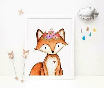 Fox Watercolour Wall Art Print