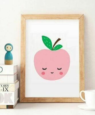 Sleepy Pink Apple Wall Art Print