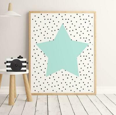 Green Star Wall Art Print