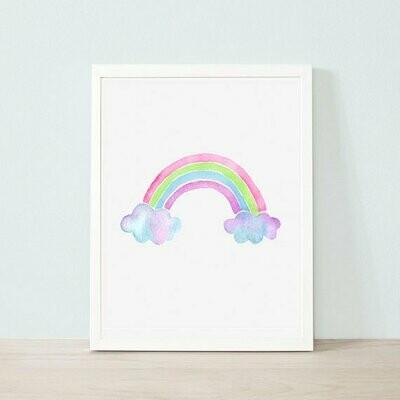 Glitter Watercolour Rainbow Wall Art Print