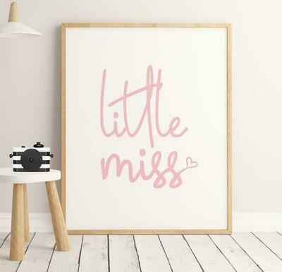 Little Miss Pink Wall Art Print