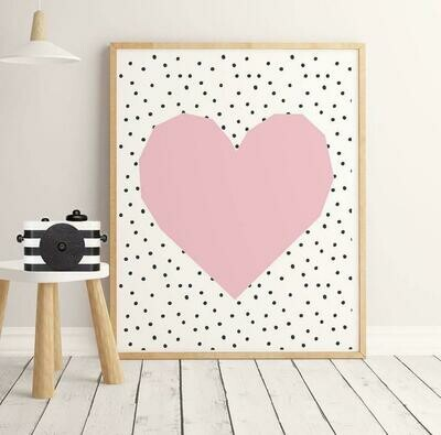 Pink Heart Wall Art Print
