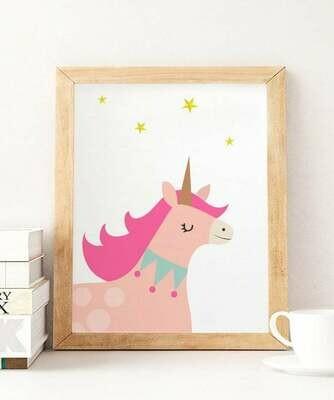 Pink Unicorn Wall Art Print