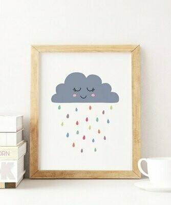 Sleepy Rain Cloud Wall Art Print