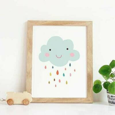 Smiley Cloud Wall Art Print