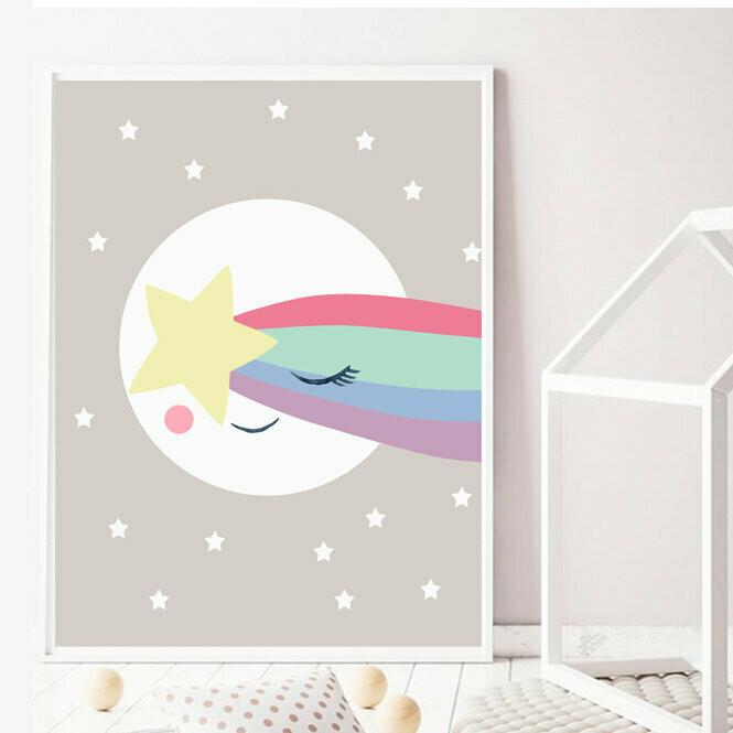Sleepy Moon Star Wall Art Print