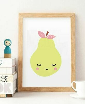 Sleepy Pear Wall Art Print