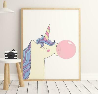 Unicorn Bubblegum Wall Art Print