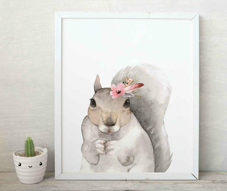 Floral Watercolour Squirrel Wall Art Print