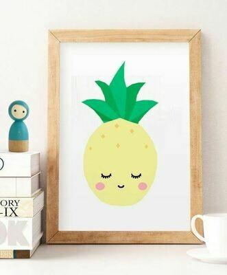 Sleepy Pineapple Wall Art Print