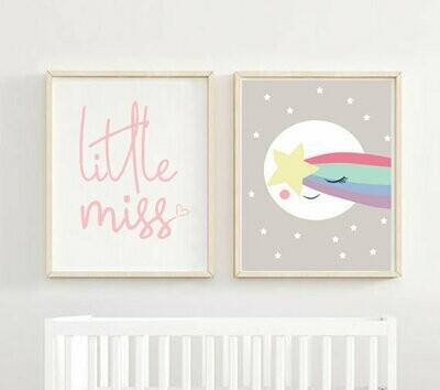 Litte Miss & Sleepy Moon Star Wall Art Prints - Set of 2