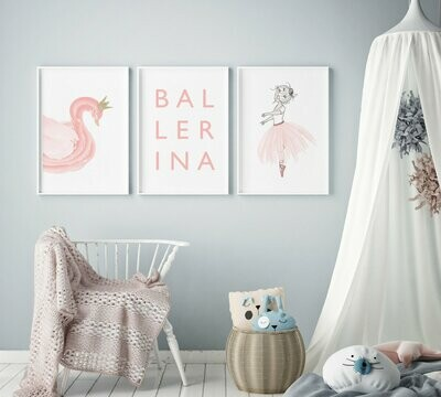 Pink Ballerina Swan Wall Art Prints - Set of 3