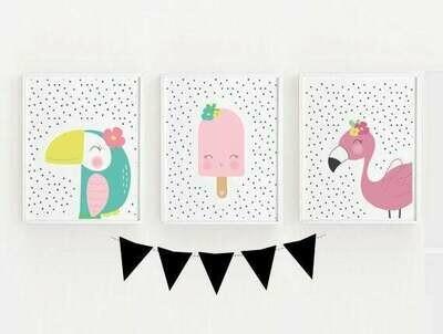 Toucan Pop Flamingo Wall Art Prints - Set of 3 -