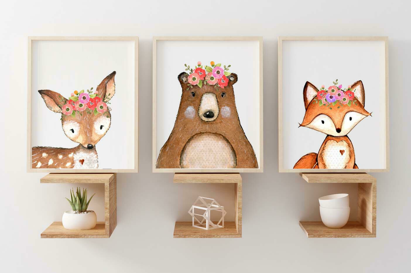 Woodland Watercolour Animals Fox, Deer & Bear Wall Art Prints - Set of 3