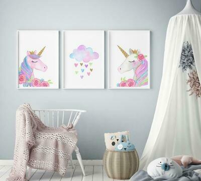 Watercolour Unicorn & Cloud & Swan Wall Art Prints - Set of 3
