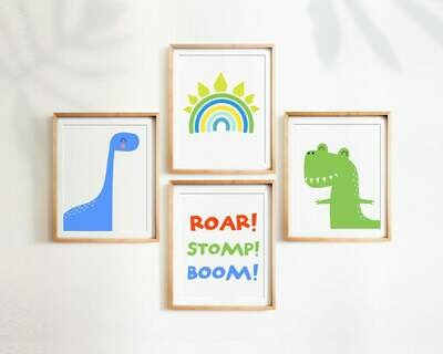 Dinosaur Rainbow Wall Art Prints - Set of 4