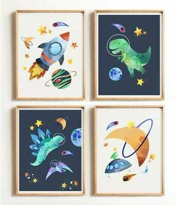 Dinosaur Space Wall Art Prints - Set of 4