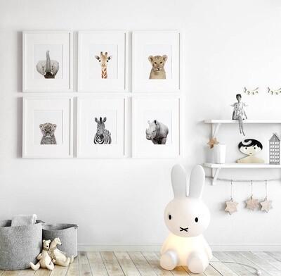 Animal Safari Wall Art Prints - Set of 6