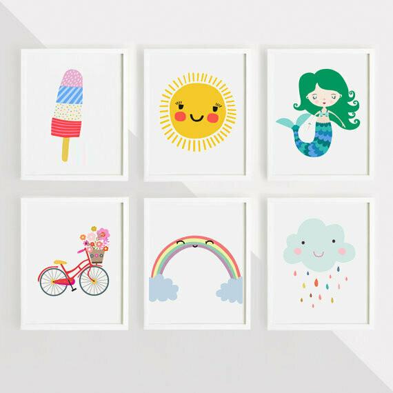 Mermaid, Rainbow, Sun, Popsicle, Cloud & Bicycle Wall Art Prints - Set of 6