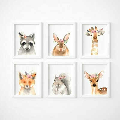 Set of 6 - Watercolour Woodland Animals Wall Art Prints